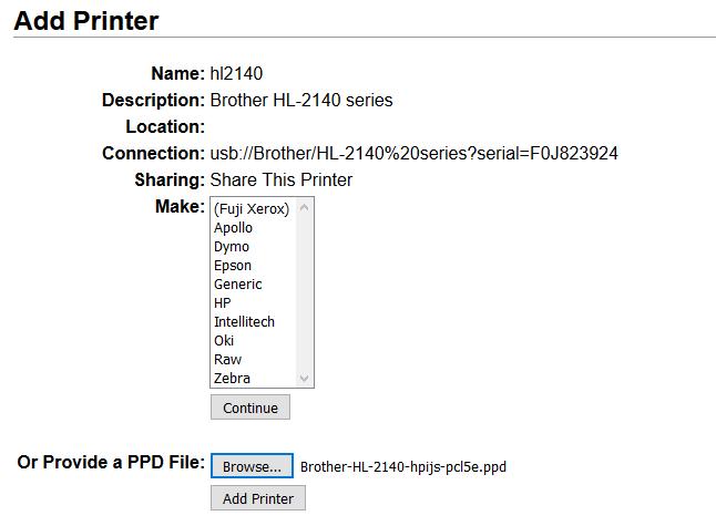 Using a Raspberry Pi as a Print Server for the HL-2140 · Random kit
